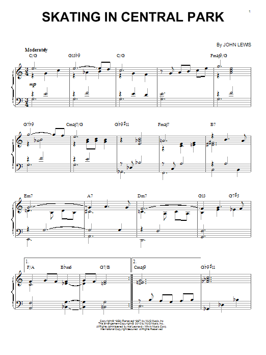 Download Modern Jazz Quartet 'Skating In Central Park' Digital Sheet Music Notes & Chords and start playing in minutes