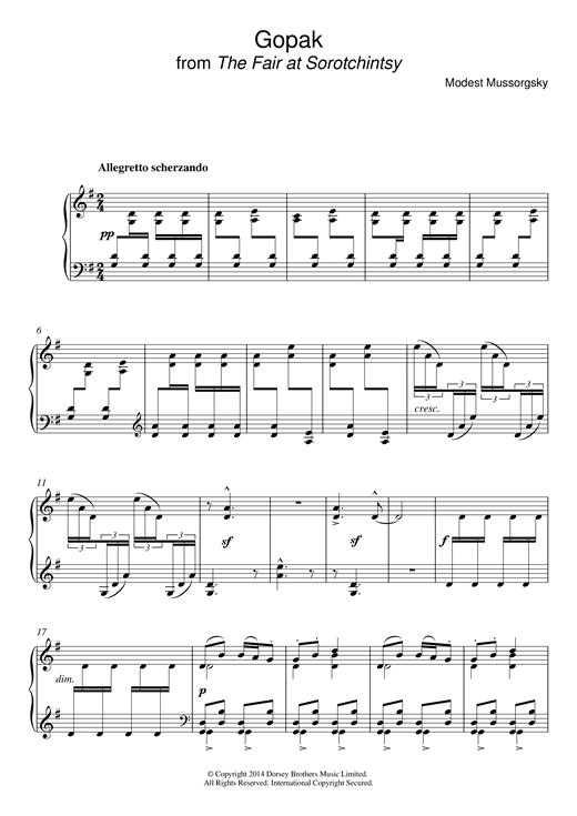 Download Modest Mussorgsky 'Gopak (from