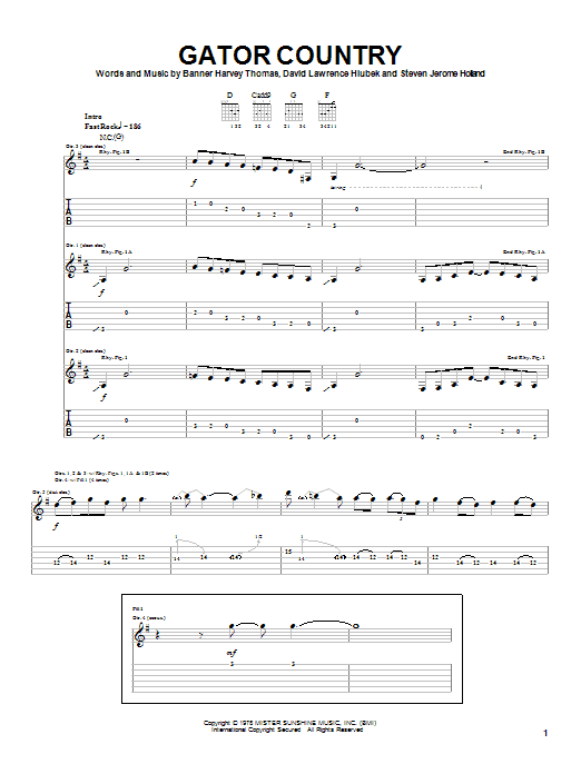 Molly Hatchet Gator Country sheet music notes and chords