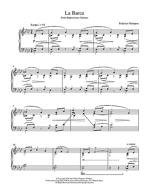 Mompou La Barca From Impresiones Intimas sheet music notes and chords