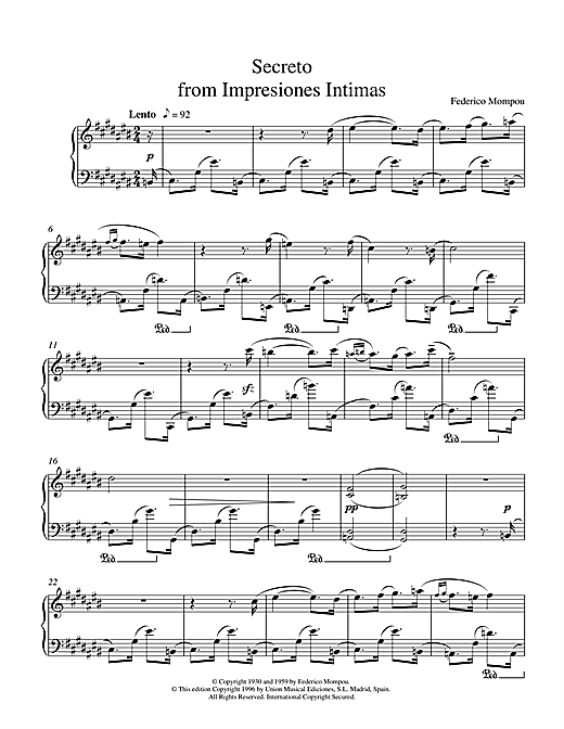 Download Mompou 'Secreto From Impresiones Intimas' Digital Sheet Music Notes & Chords and start playing in minutes