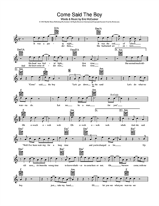 Mondo Rock Come Said The Boy sheet music preview music notes and score for Melody Line, Lyrics & Chords including 2 page(s)