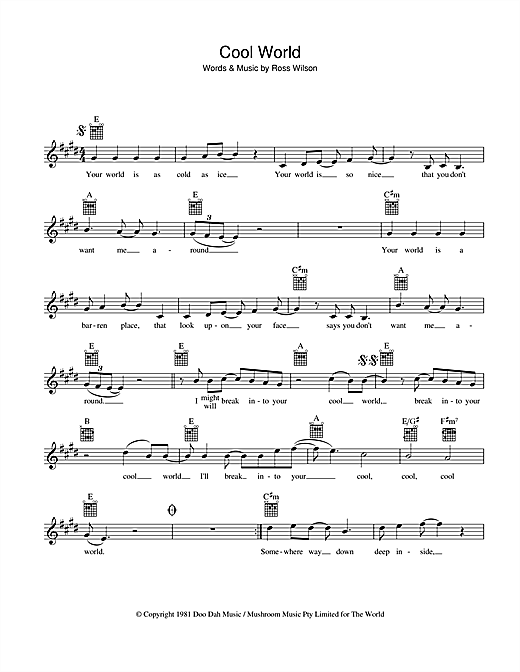 Mondo Rock Cool World sheet music preview music notes and score for Melody Line, Lyrics & Chords including 2 page(s)