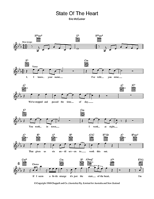 Mondo Rock State Of The Heart sheet music preview music notes and score for Melody Line, Lyrics & Chords including 2 page(s)