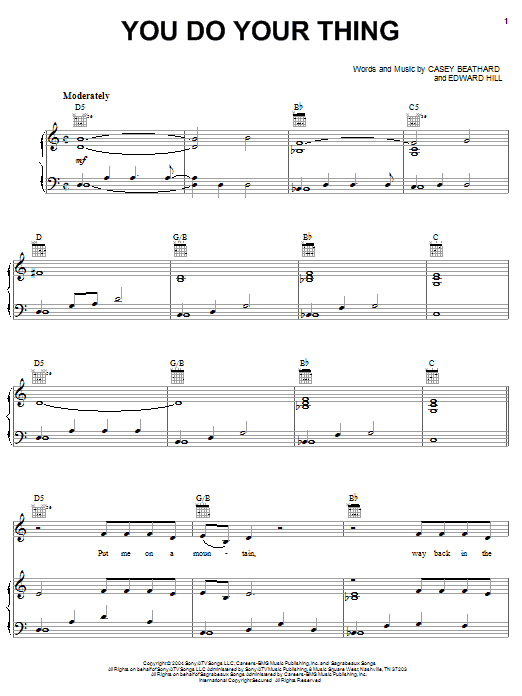 Montgomery Gentry You Do Your Thing sheet music preview music notes and score for Piano, Vocal & Guitar (Right-Hand Melody) including 5 page(s)