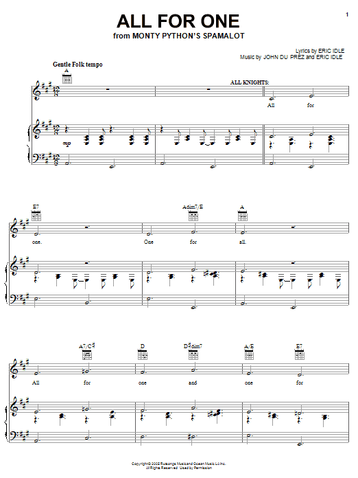 Monty Python's Spamalot All For One sheet music preview music notes and score for Easy Piano including 5 page(s)