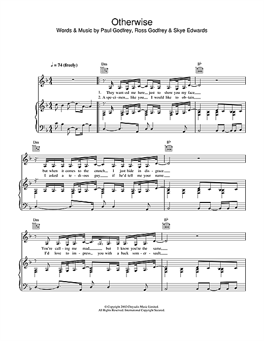 Morcheeba Otherwise sheet music notes and chords