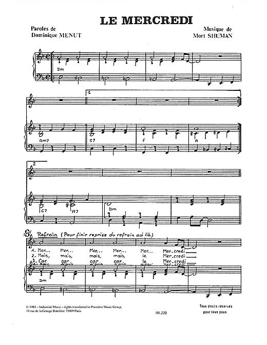 Mort Shuman Le Mercredi sheet music notes and chords