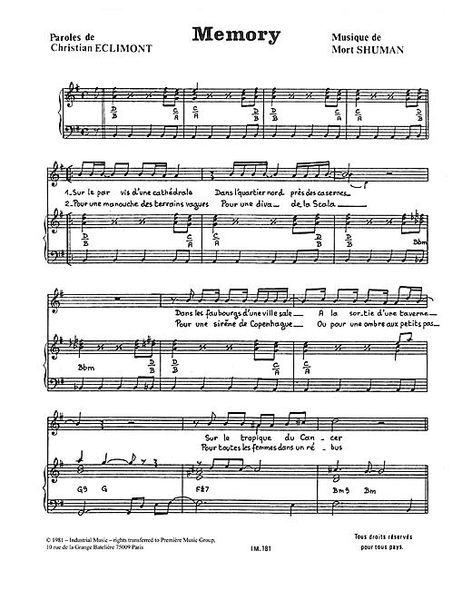 Mort Shuman Memory sheet music notes and chords
