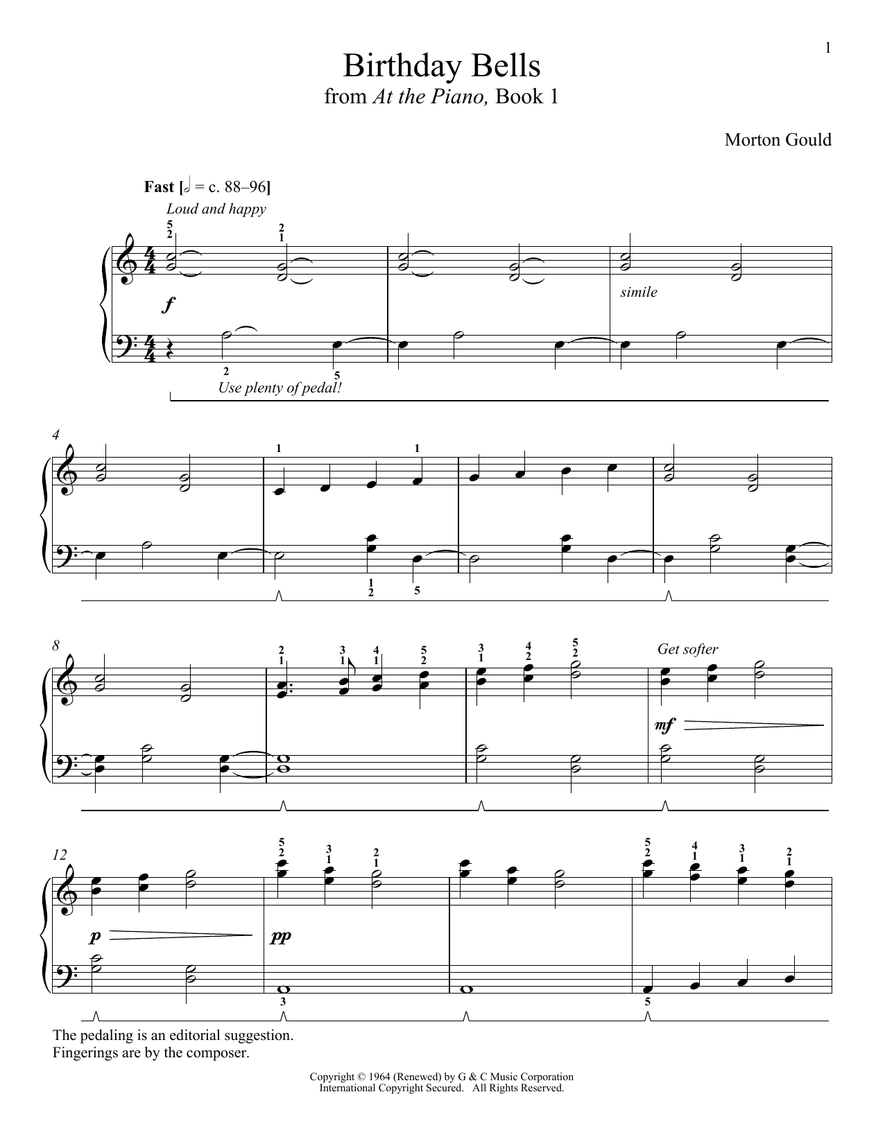Download Morton Gould 'Birthday Bells' Digital Sheet Music Notes & Chords and start playing in minutes