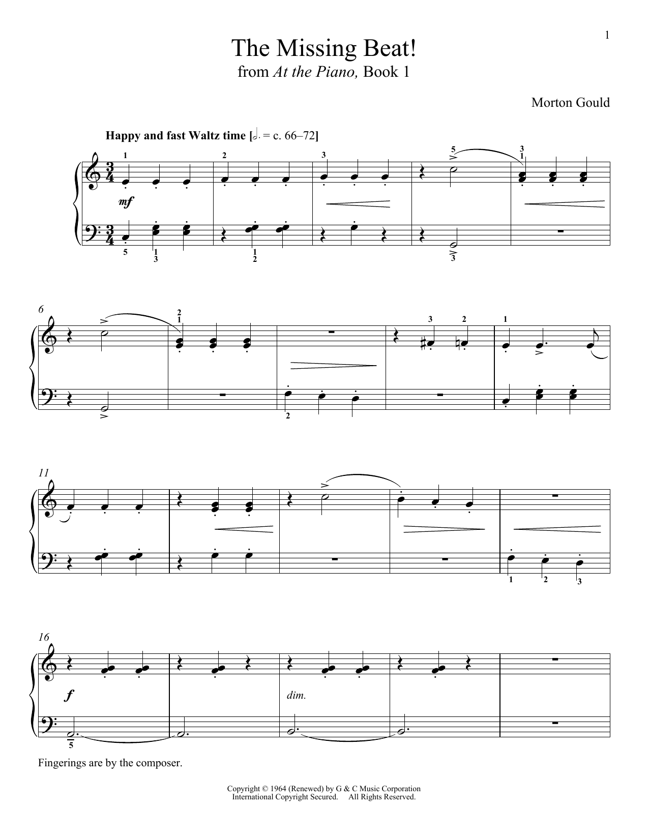 Download Morton Gould 'The Missing Beat' Digital Sheet Music Notes & Chords and start playing in minutes