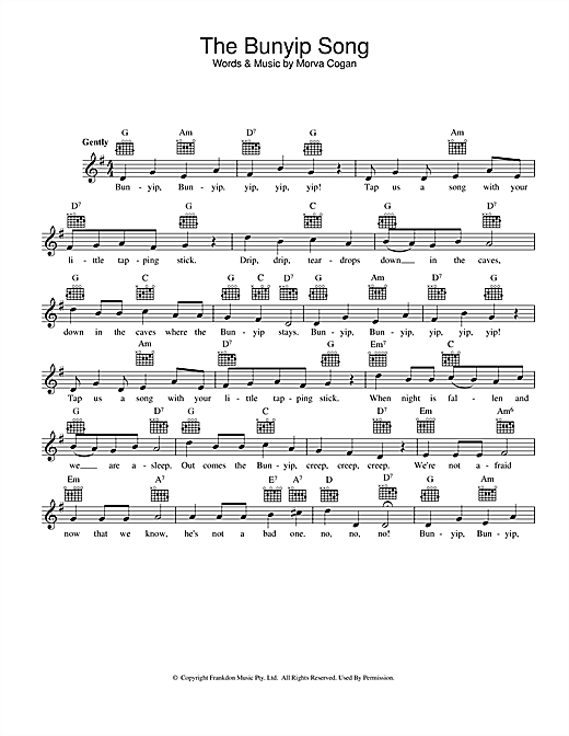 Morva Cogan The Bunyip Song sheet music preview music notes and score for Melody Line, Lyrics & Chords including 2 page(s)