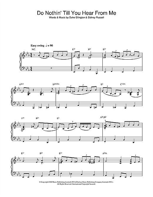 Download Mose Allison 'Do Nothin' Till You Hear From Me (Concerto For Cootie)' Digital Sheet Music Notes & Chords and start playing in minutes