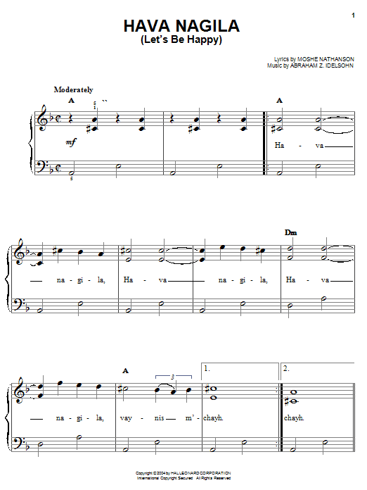 Moshe Nathanson Hava Nagila (Let's Be Happy) sheet music preview music notes and score for Easy Piano including 3 page(s)