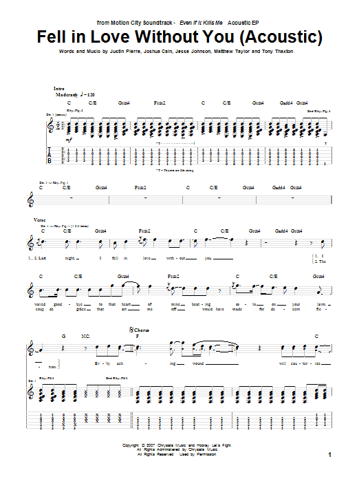 Motion City Soundtrack Fell In Love Without You (Acoustic Version) sheet music preview music notes and score for Guitar Tab including 3 page(s)
