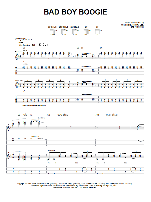 Motley Crue Bad Boy Boogie sheet music preview music notes and score for Guitar Tab including 8 page(s)