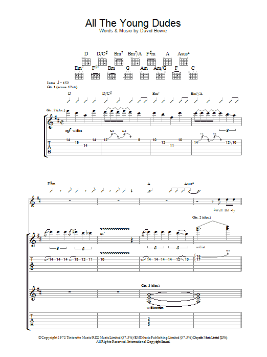 Mott The Hoople All The Young Dudes sheet music preview music notes and score for Lyrics & Chords including 2 page(s)