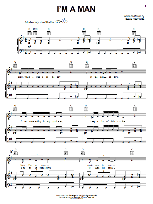 Muddy Waters I'm A Man sheet music notes and chords