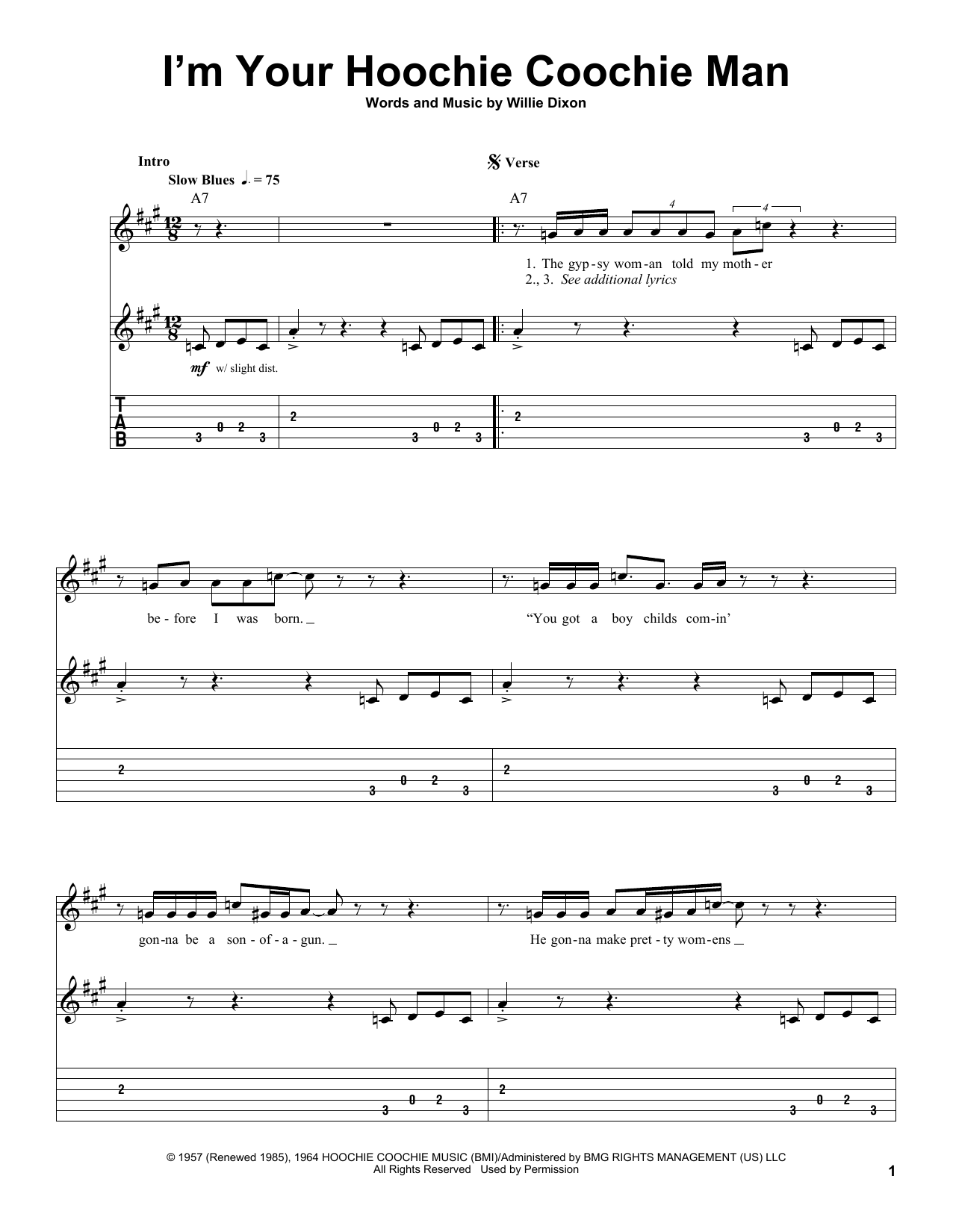 Muddy Waters I'm Your Hoochie Coochie Man sheet music preview music notes and score for Guitar Tab including 4 page(s)