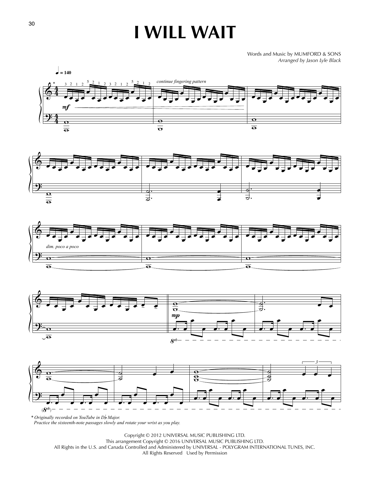 Download Jason Lyle Black 'I Will Wait' Digital Sheet Music Notes & Chords and start playing in minutes