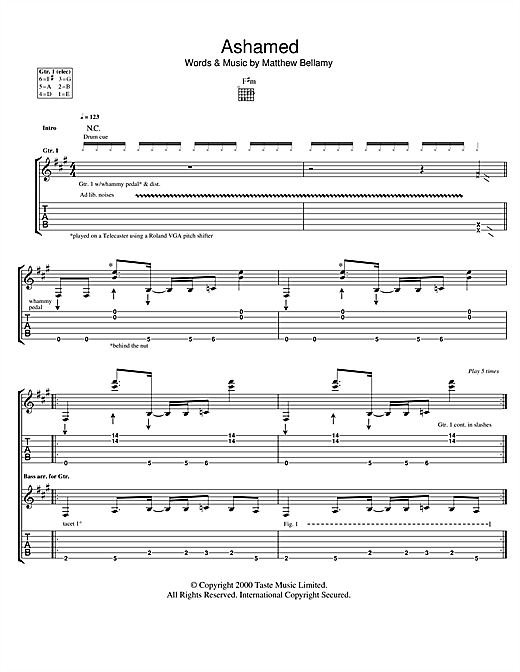 Muse Ashamed sheet music notes and chords