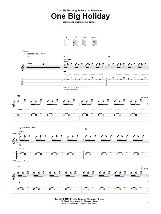 My Morning Jacket One Big Holiday sheet music preview music notes and score for Guitar Tab including 9 page(s)