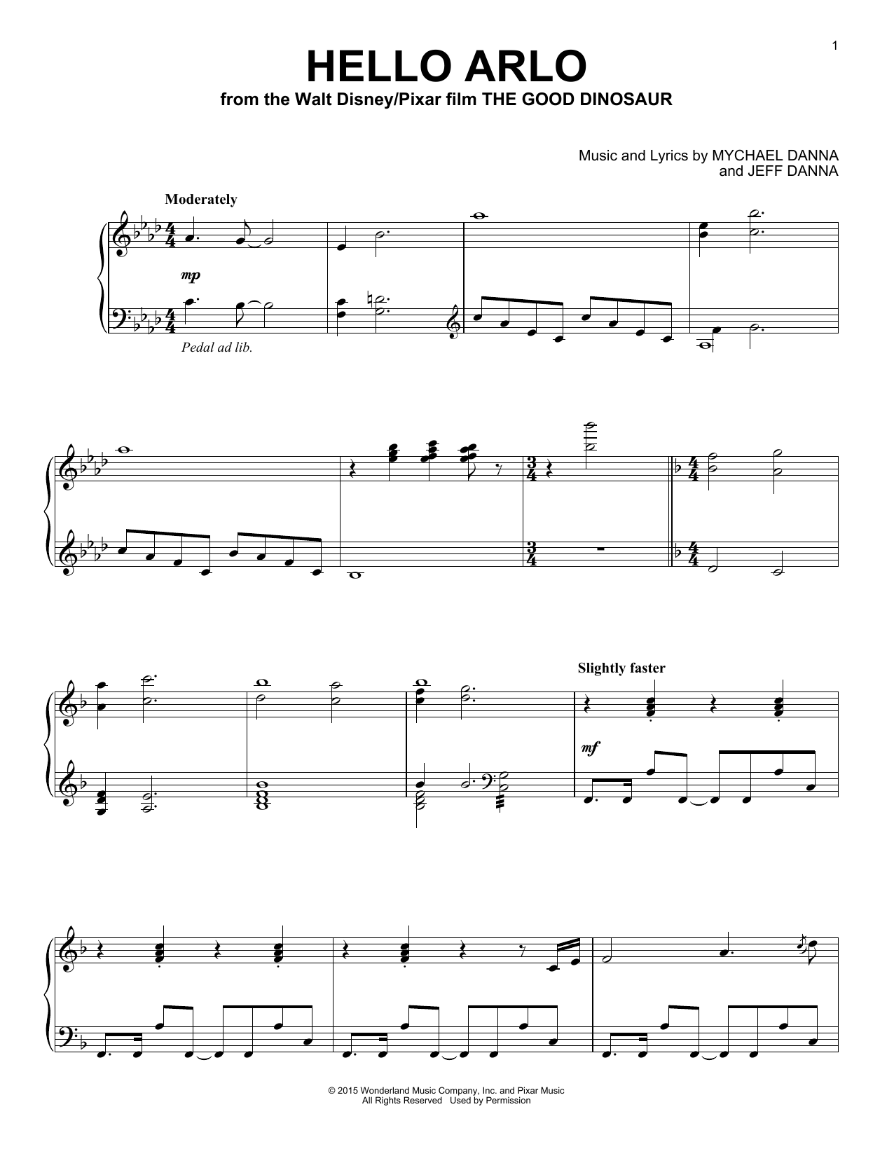 Download Mychael & Jeff Danna 'Hello Arlo' Digital Sheet Music Notes & Chords and start playing in minutes