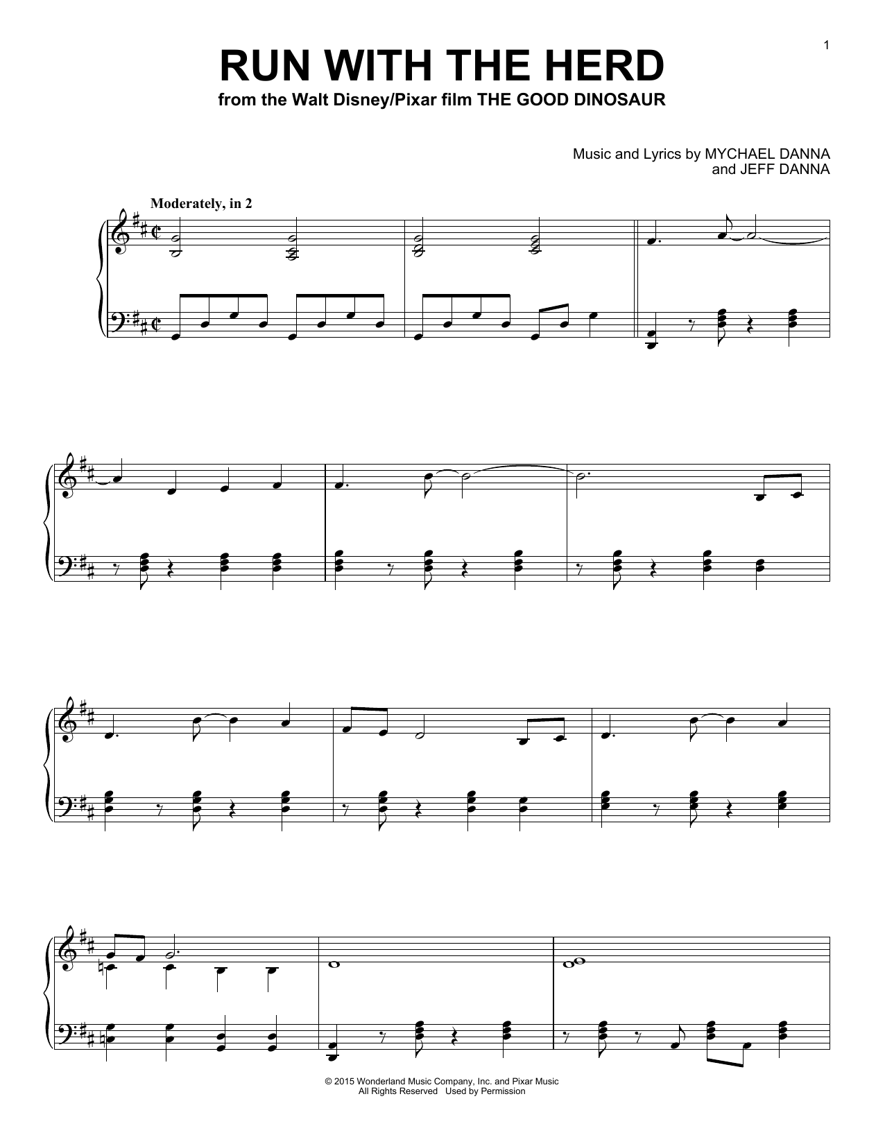 Mychael & Jeff Danna Run With The Herd sheet music notes and chords