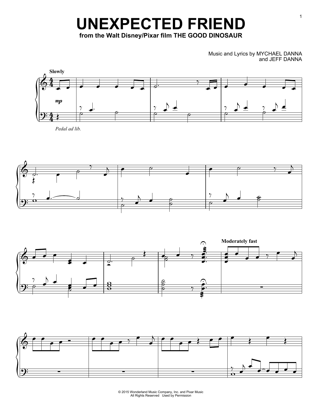 Download Mychael & Jeff Danna 'Unexpected Friend' Digital Sheet Music Notes & Chords and start playing in minutes