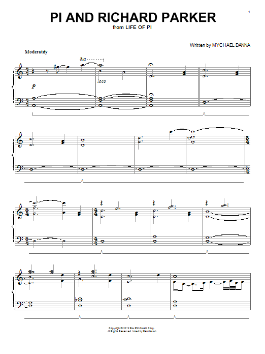 Download Mychael Danna 'Pi And Richard Parker' Digital Sheet Music Notes & Chords and start playing in minutes