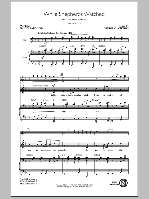Download Nahum Tate 'While Shepherds Watched' Digital Sheet Music Notes & Chords and start playing in minutes