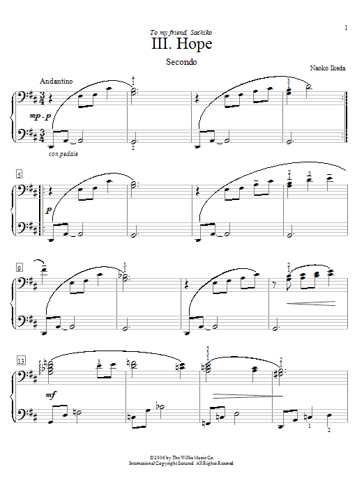 Naoko Ikeda Hope sheet music preview music notes and score for Piano Duet including 4 page(s)