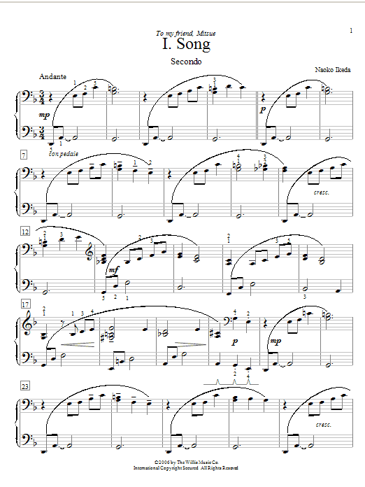 Naoko Ikeda Song sheet music preview music notes and score for Piano Duet including 4 page(s)