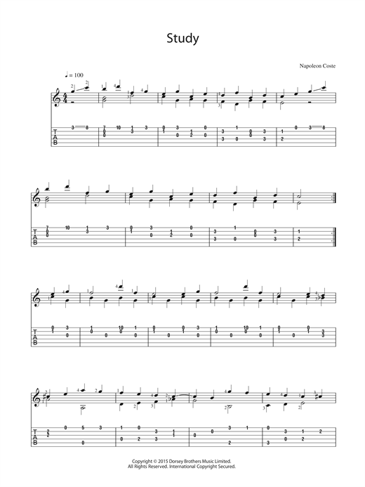 Napoleon Coste Study sheet music preview music notes and score for Guitar including 2 page(s)