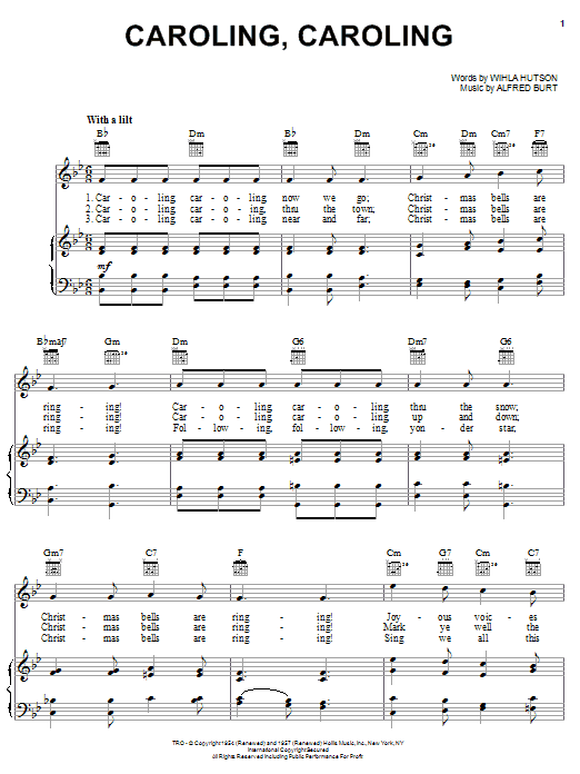 Nat King Cole Caroling, Caroling sheet music notes and chords