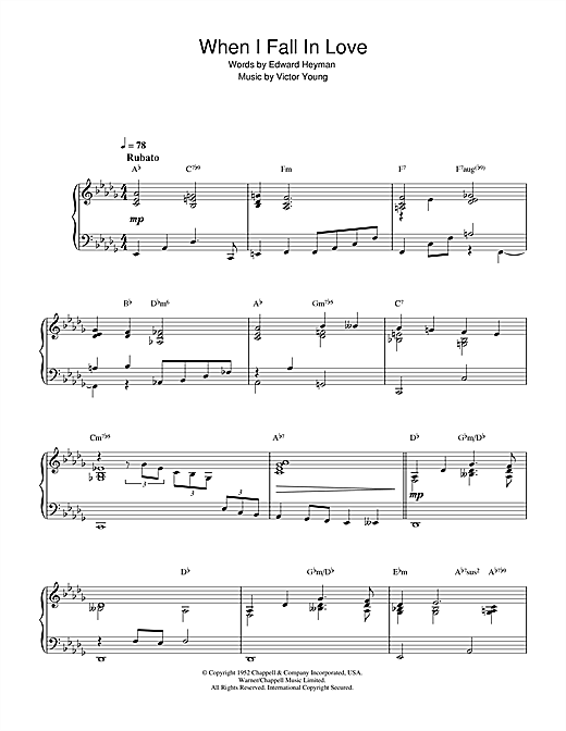 Download Nat King Cole 'When I Fall In Love' Digital Sheet Music Notes & Chords and start playing in minutes