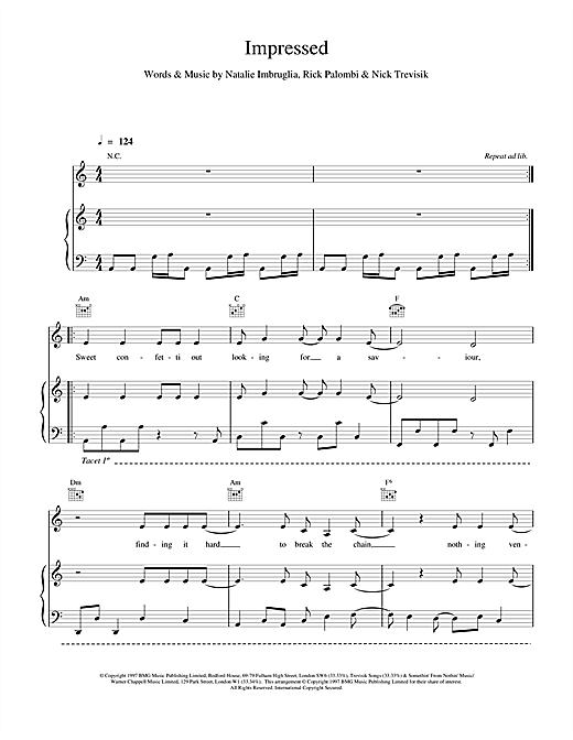 Natalie Imbruglia Impressed sheet music notes and chords