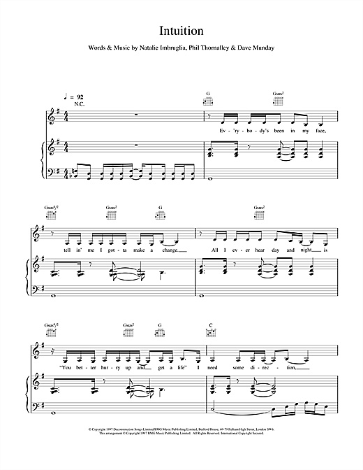 Natalie Imbruglia Intuition sheet music notes and chords