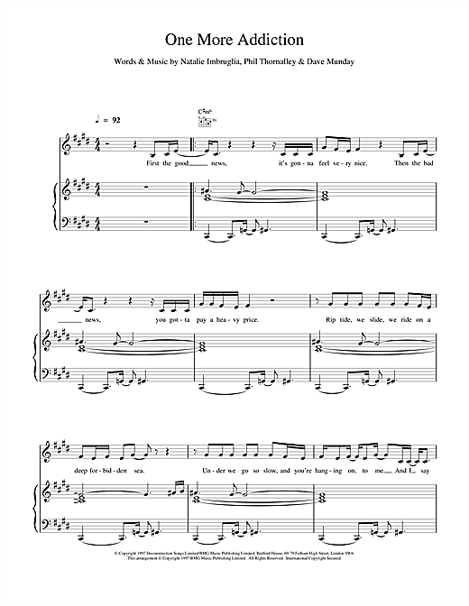Natalie Imbruglia One More Addiction sheet music notes and chords