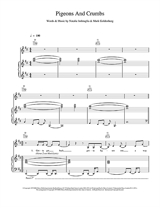 Natalie Imbruglia Pigeons And Crumbs sheet music notes and chords