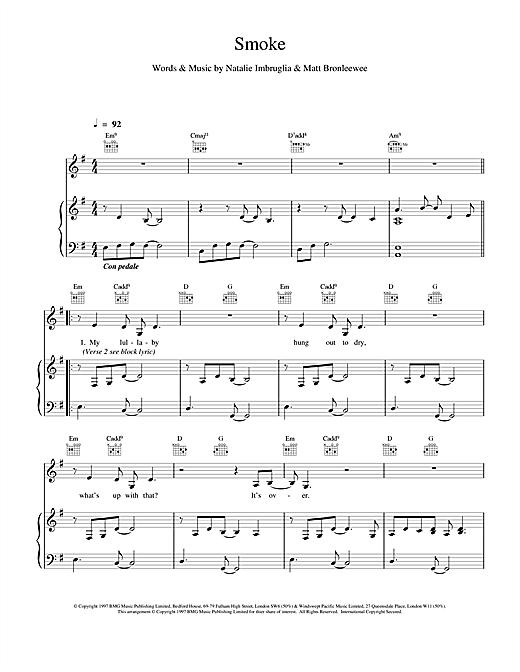 Natalie Imbruglia Smoke sheet music notes and chords