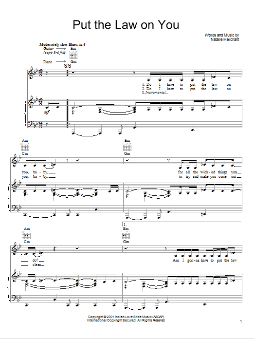 Natalie Merchant Put The Law On You sheet music notes and chords