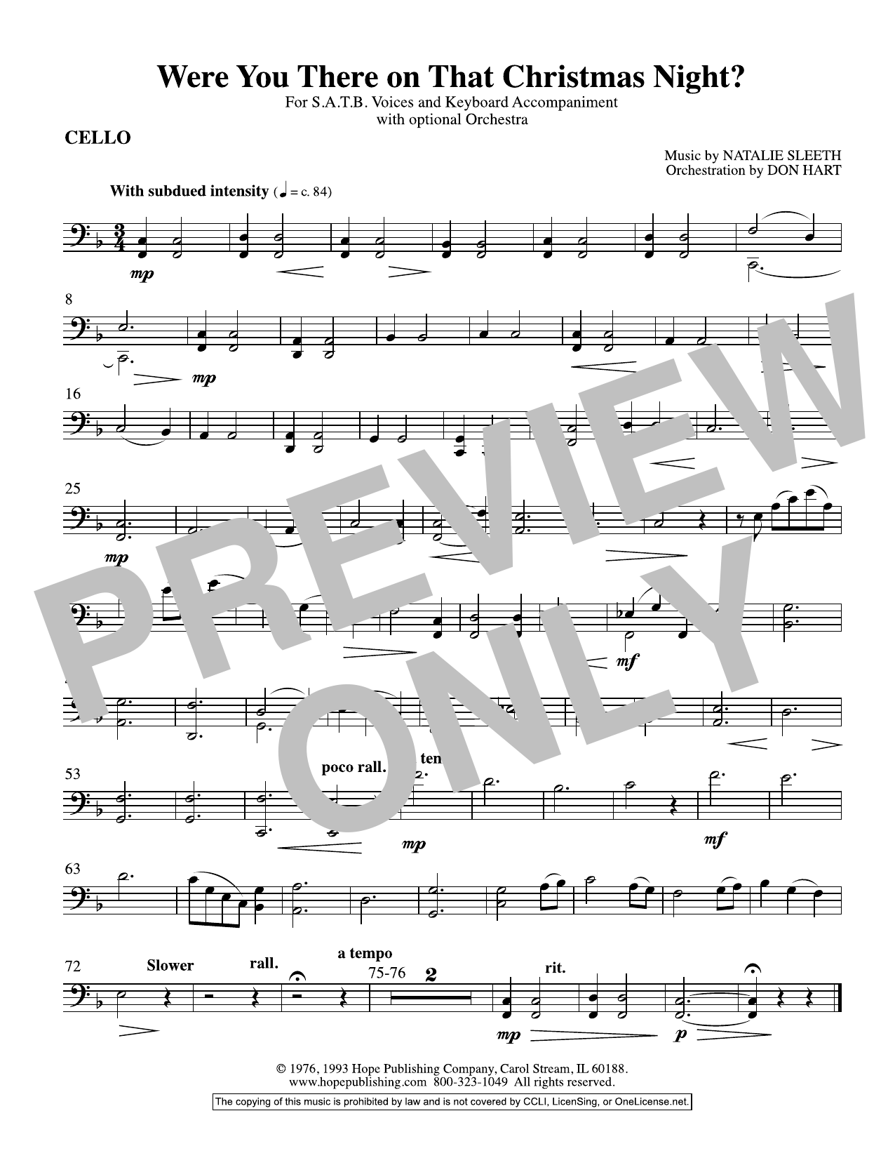 NATALIE SLEETH Were You There On That Christmas Night? (arr. Don Hart) - Cello sheet music preview music notes and score for Choir Instrumental Pak including 1 page(s)