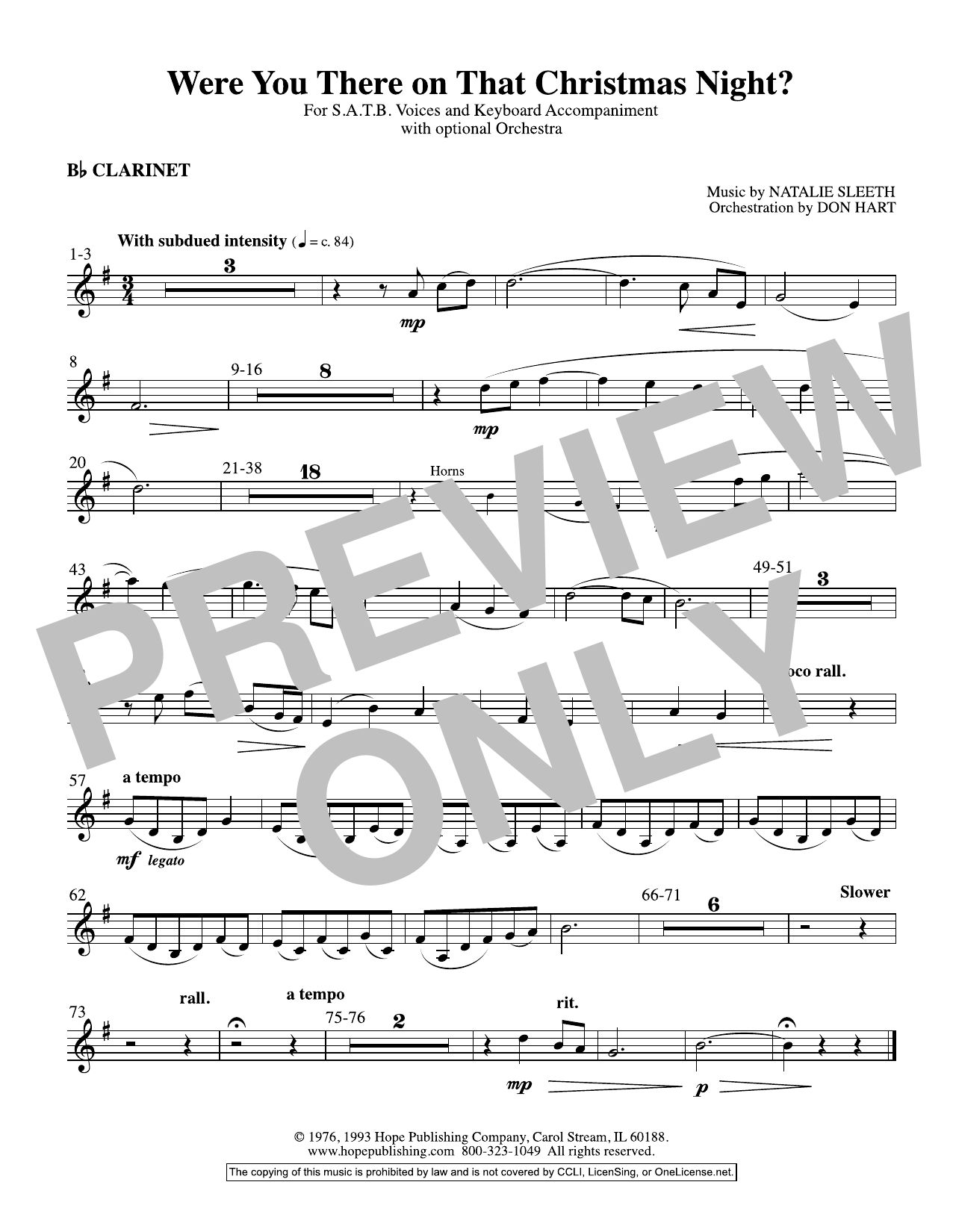 NATALIE SLEETH Were You There On That Christmas Night? (arr. Don Hart) - Clarinet sheet music preview music notes and score for Choir Instrumental Pak including 1 page(s)