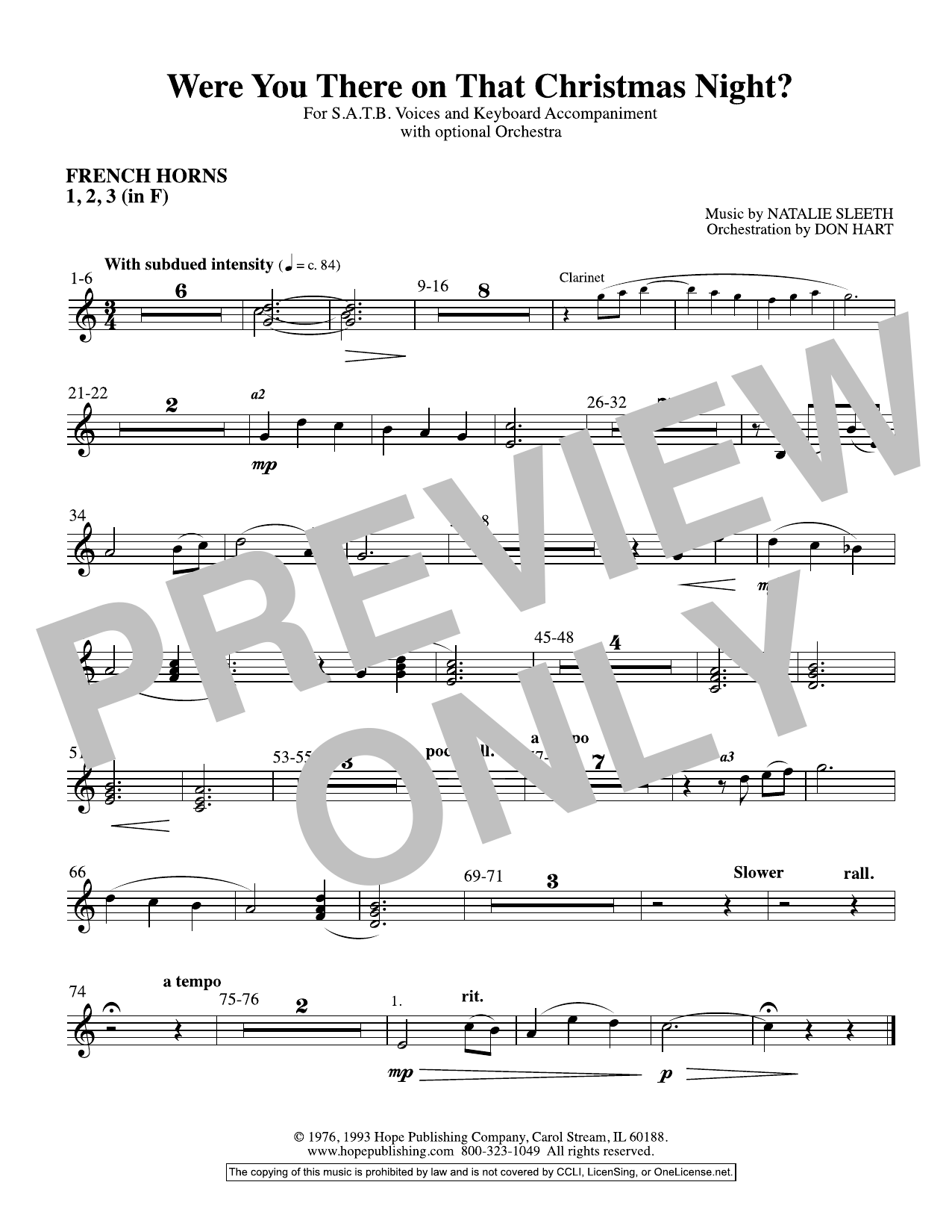 NATALIE SLEETH Were You There On That Christmas Night? (arr. Don Hart) - F Horn 1,2,3 sheet music preview music notes and score for Choir Instrumental Pak including 1 page(s)