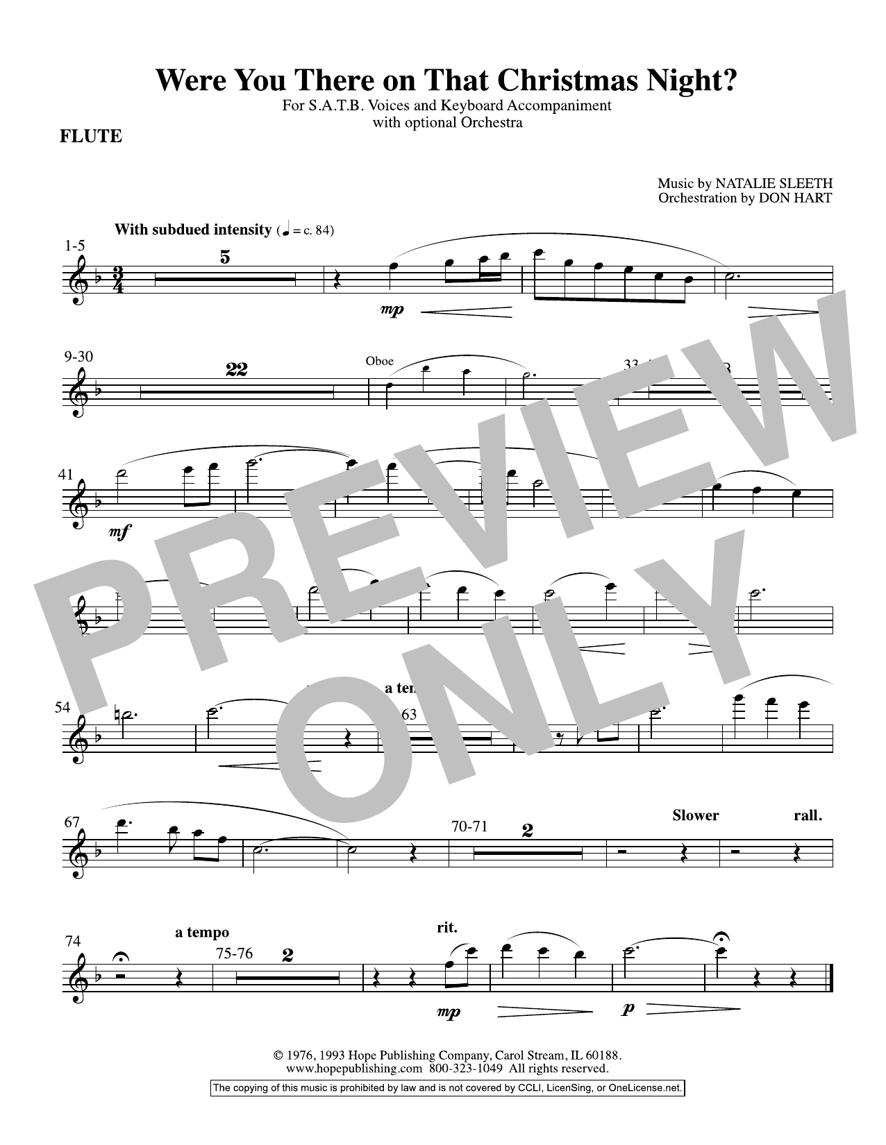 NATALIE SLEETH Were You There On That Christmas Night? (arr. Don Hart) - Flute sheet music preview music notes and score for Choir Instrumental Pak including 1 page(s)