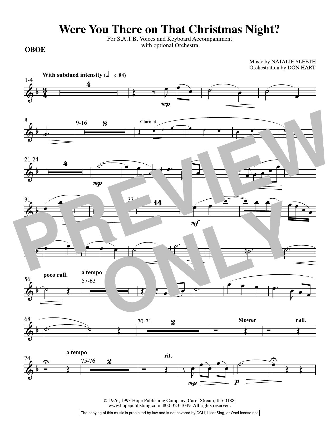 NATALIE SLEETH Were You There On That Christmas Night? (arr. Don Hart) - Oboe sheet music preview music notes and score for Choir Instrumental Pak including 1 page(s)