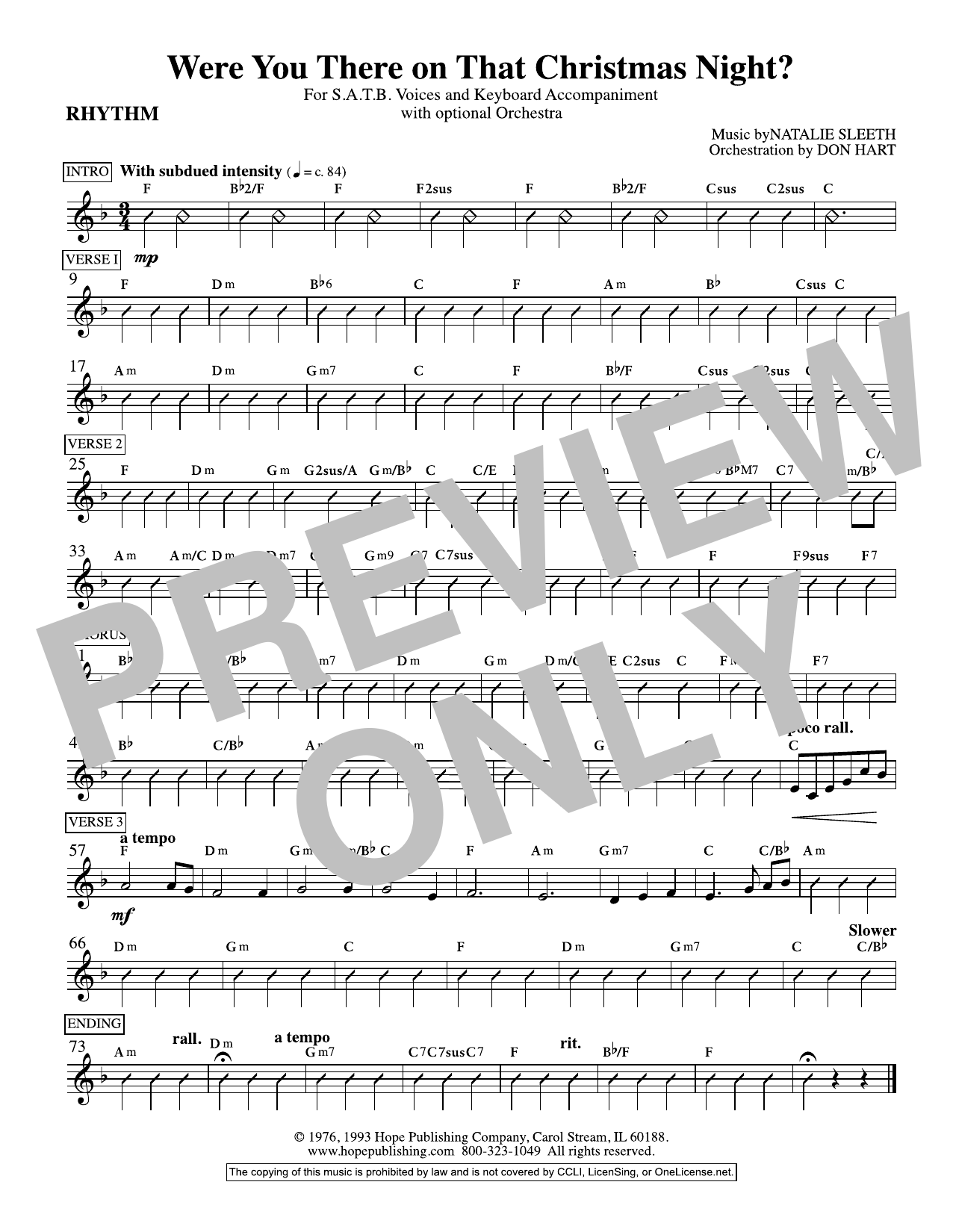 NATALIE SLEETH Were You There On That Christmas Night? (arr. Don Hart) - Rhythm sheet music preview music notes and score for Choir Instrumental Pak including 1 page(s)