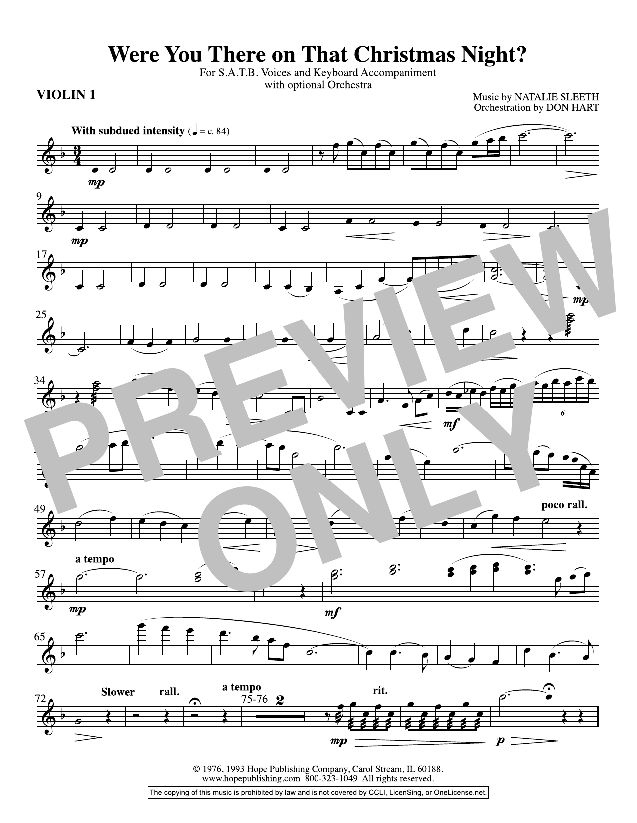 NATALIE SLEETH Were You There On That Christmas Night? (arr. Don Hart) - Violin 1 sheet music preview music notes and score for Choir Instrumental Pak including 1 page(s)