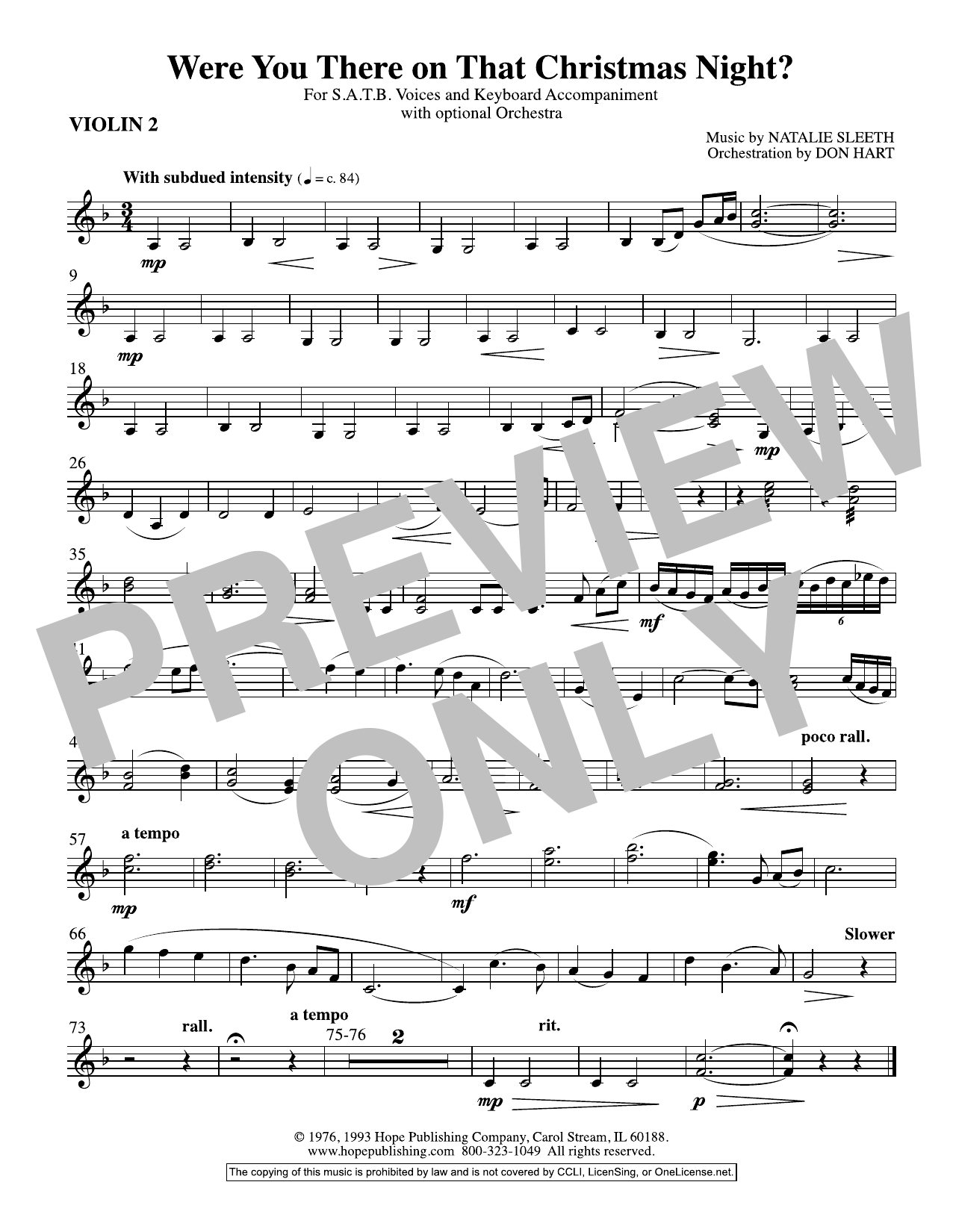 NATALIE SLEETH Were You There On That Christmas Night? (arr. Don Hart) - Violin 2 sheet music preview music notes and score for Choir Instrumental Pak including 1 page(s)